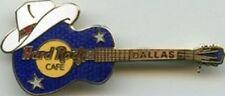 Hard Rock Cafe DALLAS Blue Acoustic GUITAR w/ Cowboy Hat PIN - HRC Catalog #2141