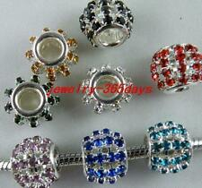 30pcs Crystal Mixed Big Hole Spacers Fit bracelet 12x10mm