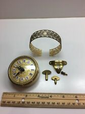 Vintage Small Round Linden Gold Filigree Alarm Clock West Germany PARTS ONLY
