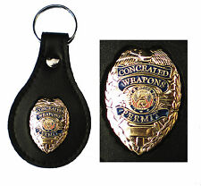 Gold Concealed Weapons Permit Metal Badge Leather Key FOB Smart Keychain Keyring