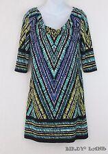 Adrianna Papell Stretch Knit Shift Dress Blue Green Geometric Cowl Neck Womens 4
