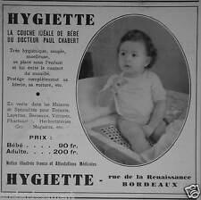 PUBLICITÉ 1936 HYGIETTE LA COUCHE IDÉALE POUR BÉBÉ DU DOCTEUR PAUL CHABERT