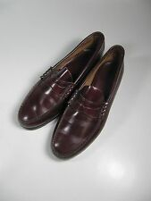 Mens Dress Shoes 11C Red Brown Slip On Leather Penny Loafers -Excellent