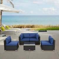 5 PCS Outdoor Patio PE Rattan Wicker Sofa Set Sectional Furniture