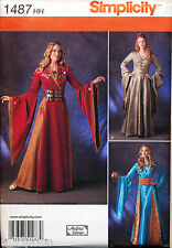 SIMPLICITY SEWING PATTERN 1487/1009 MISSES SZ 6-12 GAME THRONES MEDIEVAL COSTUME