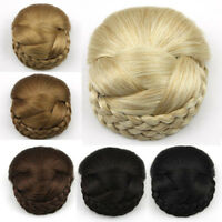 Women Braided Clip In Synthetic Hair Bun Chignon Donut Roller Hairpieces Fashion