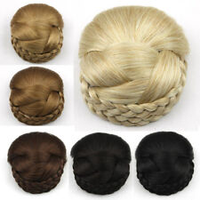 Women Lady Braided Clip In Synthetic Hair Bun Chignon Donut Roller Hairpieces