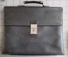 Authentic GUCCI Black Leather Briefcase Portfolio Folder Attache Bag Locking