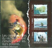 GUINEA 2014 CLIMATE CHANGE POLAR BEAR SHEET  MINT NH