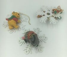 3 RARE Disney Tigger Snowflake Winnie the Pooh Eeyore Christmas Ornaments