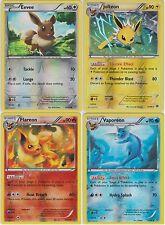 Pokemon Eeveelution 4 Cards Reverse Holo Set (Eevee, Jolteon, Flareon, Vaporeon)