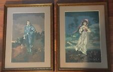 Blue Boy &  Pinky Vintage Wooden Framed Needlepoint under glass