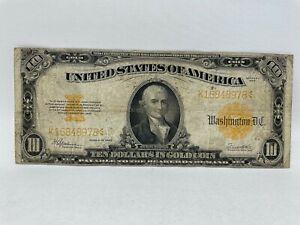 1922 US $10 Dollars Gold Certificate Hillegas Fr 1173 F