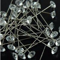 200pcs Clear Gem Diamond Cut Pins Bling for Bouquet Wedding Flower Diamante