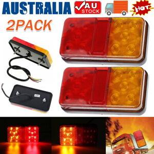 Pair LED Square Tail light 12V trailer truck number taillight STOP/BRAKE lights