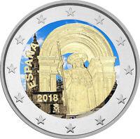 2 Euro Gedenkmünze Spanien 2018 coloriert / mit Farbe - Farbmünze Santiago