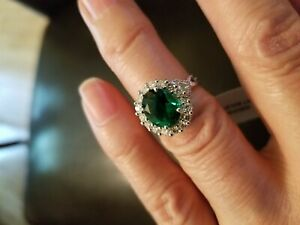 2.23 CT RUSSIAN EMERALD & 3/5 CT DIAMOND (VS CLARITY) 14KT SOLID GOLD RING SZ 7
