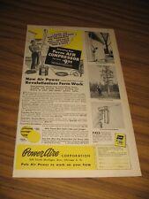 1947 Print Ad Poweraire Farm Air Compressors Chicago,IL