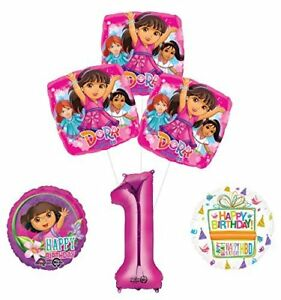 Dora the Explorer 1st Birthday Party Supplies and Balloon Bouquet Decorations
