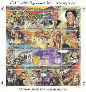stamps LIBYA 1994 SC 1498 GADDAFI  HUMAN RIGHTS PRIZE W MANDELA MNH SHEET #186