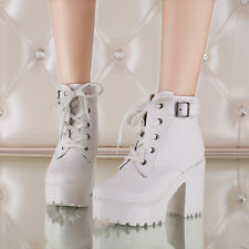 2018 New Women Block Heel Platform Ankle Boot Lace Up Buckle Knight Riding Shoes