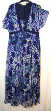 NAVY BLUE WHITE LADIES CASUAL LONG DRESS V-NECK PER UNA SIZE 12 FLORAL CRINKLED
