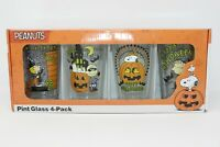 NEW Peanuts Snoopy Halloween Pint 16 ounces Glass 4-Pack NEW in Box