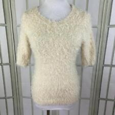 American Rag Cie Size Juniors Large Soft Sweater Faux Fur Stretch Knit Ivory