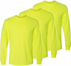 Safety High Visibility Long Sleeve Construction Work Shirts Gildan Pack for Men
