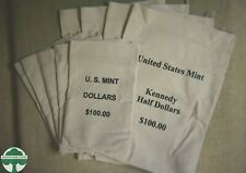 LOT OF 9 - UNITED STATES MINT $100 HALF DOLLARS & DOLLARS CANVAS BAGS