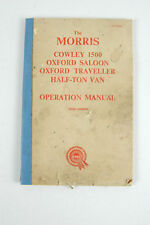 Morris Cowley 1500 Oxford factory operators manual with lubrication chart