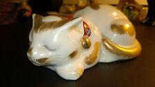Antique Japanese Kutani Gold Gilded White Porcelain Sleeping Cat
