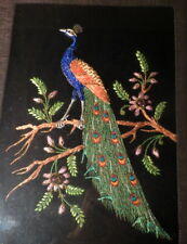wonderful beaded 3-D bird painting Peacock w/ jewels & gold thread light on top
