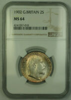 1902 Great Britain 2 Shillings Florin Silver Coin NGC MS-64 Toned