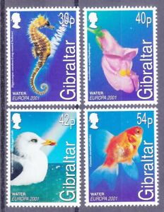 Gibraltar 871-74 MNH 2001 EUROPA Seahorse Goldfish Sea Gull Snapdragon Fish Set