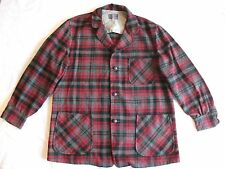 VTG Men's Pendleton Gray Black Red Tartan Plaid Virgin Wool Jacket Coat Size L