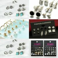 12 Pair Fashion Women Korean Rhinestone Crystal Pearl Ear Stud Earrings Set Gift