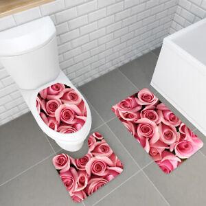 3PCS Floral Non-Slip Bathroom Carpet Pedestal Rug+Toilet Cover+Bath Mat Set