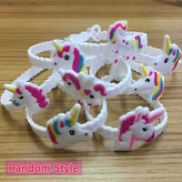 10x Unicorn Bracelet White Band Party Bag Fillers Gift For Kids Style Random Hot