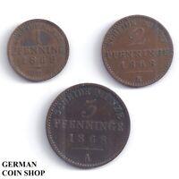 Set Königreich Preussen - 1 Pfennig, 2 & 3 Pfennige 1868 A B Kupfer Prussia