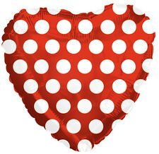 "18"" Polka Dot Red Heart Shape Balloon Wedding Baby Shower Birthday Bridal"