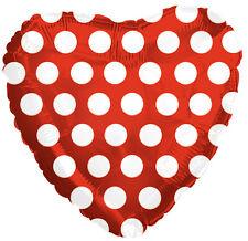 "18"" Polka Dot Red Heart Shape Balloon Wedding Baby Shower Birthday Bridal"