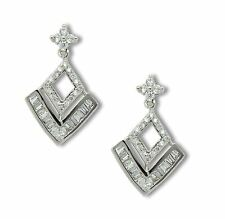 9ct White Gold Filled Womens Dangle Stud Earrings with White CZ Crystals 9K GF