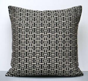 Blendworth Designer Cushion Cover Intaglio Weave Geometric Design Black & Grey