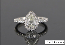 $17,000 De Beers AURA Platinum Pear Round Diamond Halo Engagement Ring Size 5.75