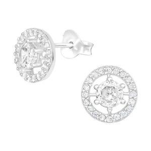 925 Sterling Silver Geometric Circle Cubic Zirconia Stud Earrings