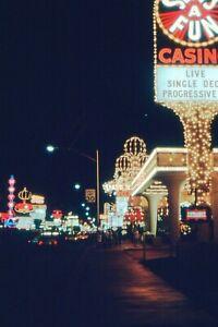35mm SLIDE  : LAS VEGAS STRIP AT NIGHT WITH MILLIONS OF NEON LIGHTS & CASINO'S