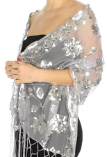Silver Sequin Evening Shawl Wrap Floral Party Wedding