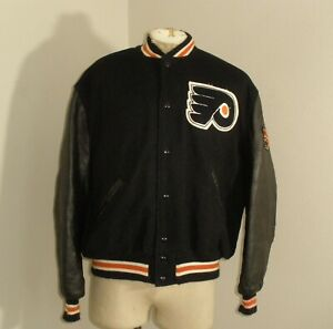 VTG DeLong Philadelphia Flyers WOOL LEATHER Varsity Letterman Jacket USA MADE 48