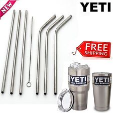 6 Drinking Straws Stainless Steel Tumbler YETI Cup Travel Mug & Reusable Brush